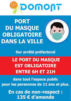 Affiche port du masque 6h 21h nov 2020